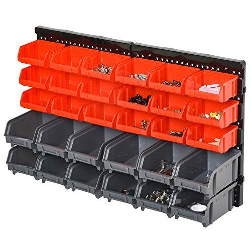 DURHAND Estantería de Almacenaje para Pared Organizador de Herramientas 33 Piezas en Total con Cajas de 2 Tamaños Diferentes Ideal para Tornillos 37,5x18x95,5 cm Rojo y Gris