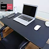 Boshiho PU Leather Desk Pad/Mat Blank Top Non-Slip Waterproof Extra Large Extended Gaming Mouse Pad (Black/Red, M)
