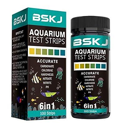 BSKJ 6 in 1 Aquarium-Wasser-Teststreifen, für Salzwasser, Süßwasser, Fischteich-Teich, Multielement-Test
