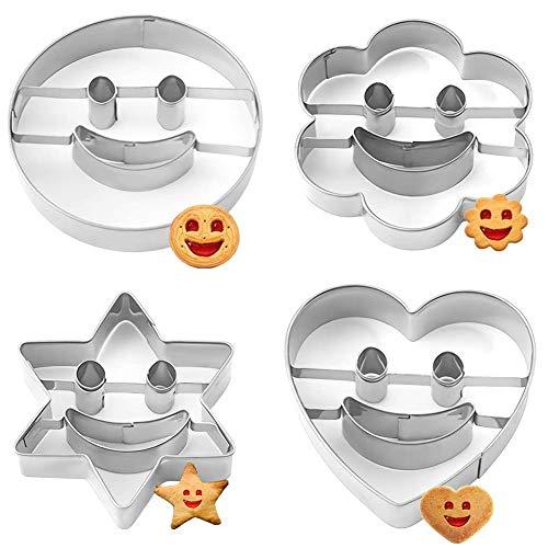 JAHEMU Ausstechformen Smiley Plätzchenausstecher Edelstahl DIY Geburtstag Ostern Keksausstecher Set 4 Stück für Keks Backen Fondant Plätzchen Tortendekorationen