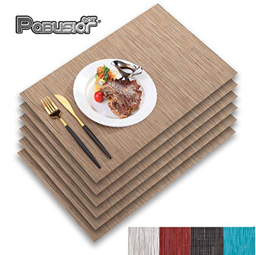 DOLOPL Brown Placemat Placemats Waterproof Placemats Set of 6 Crossweave Woven Vinyl Laminated Table Mat Easy to Clean Heat Resistant Wipeable Placemats for Dining Table
