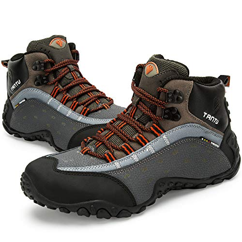 TANTU Men's Outdoor Leather high Climbing Shoes,Hiking Shoes,Adventure Shoes,Backpack Shoes (6.5, Orange)