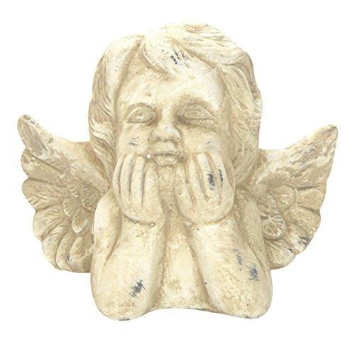 DARO DEKO Stein-Figur Engel nachdenklich Creme-Weiß