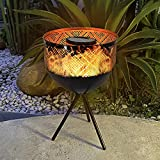 Pearlstar Solar Lantern Outdoor Flame Light with Warm Yellow Dancing Flicker Fire LED Metal Solar Tabletop Lamp Decor Waterproof Outside for Garden Yard Patio Camping Party Pathway