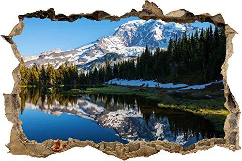 wandmotiv24 Adesivo murale 3D Foresta con Un Lago su Un Paesaggio di Montagna Disegno 01 - mezzi Adesivo a Muro M0880