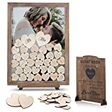 GLM Wedding Guest Book Alternative, Drop Top Frame with 85 Hearts, 2 Large Hearts, and Sign, Guest Book for Wedding Reception, Baby Shower, and Funeral Guest Book (Brown)