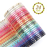 Yubbaex 24 rollos Washi Tape Set cinta adhesiva decorativa Washi Glitter Adhesivo 3MM De ancho