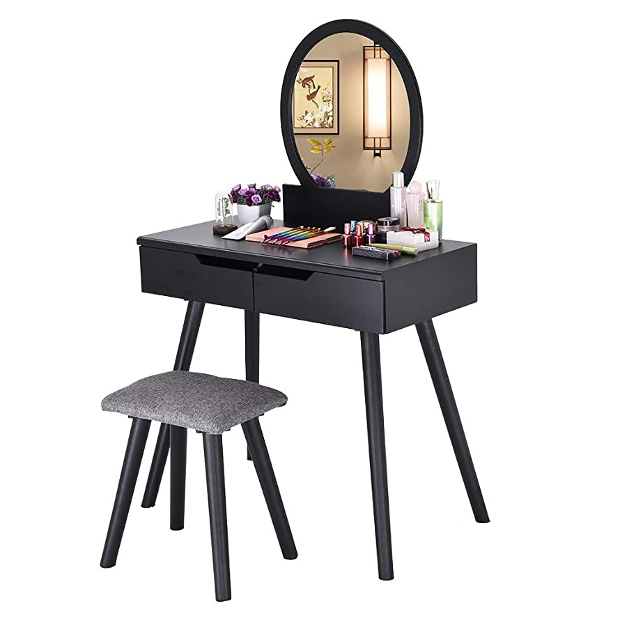 TADAMI Dressing Table, Round Mirror 2 Large Sliding Drawers Makeup with Cushioned Stool Home & Garden Furniture