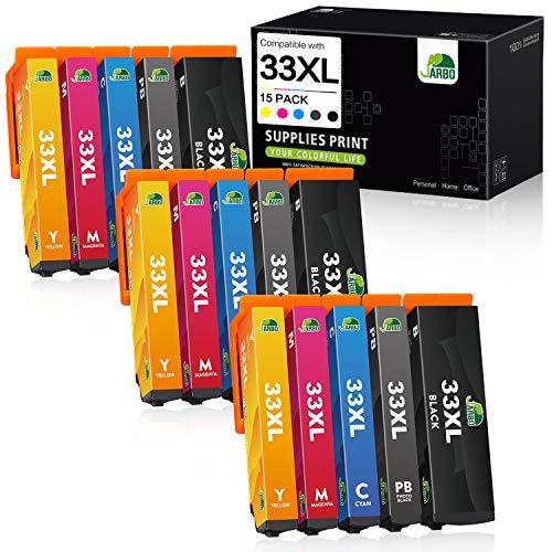 JARBO 33XL Kompatibel mit Epson 33XL Patronen 33XL Druckerpatronen Multipack hoher Reichweite für Epson XP-7100 XP-540 XP-530 XP-640 XP-830 XP-900 XP-630 XP-635 XP-645, 15er-Pack