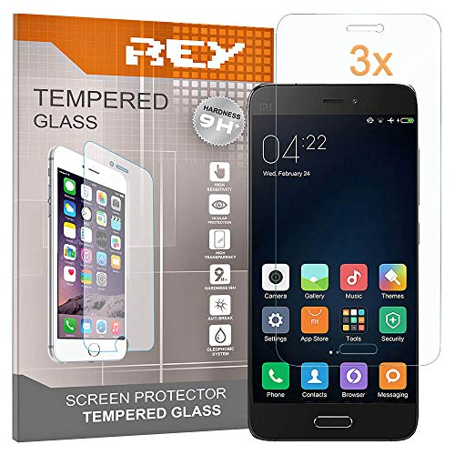 REY Pack 3X Pellicola salvaschermo per XIAOMI MI5, Pellicole salvaschermo Vetro Temperato 9H+, di qualità Premium