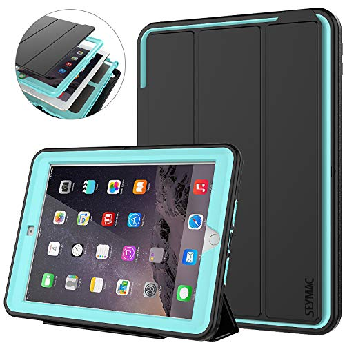 SEYMAC iPad 6th/5th Generation Case, Three Layer Heavy Duty Shockproof Protective Case with Multi-Angle Viewing Stand Smart Cover Auto Sleep/Wake for iPad 9.7 inch 2018/2017 Black/Light Blue