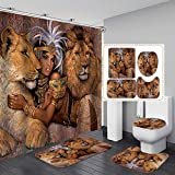 Fashion_Man 16PCS/Set Lion African Woman Shower Curtain Polyester Cloth Fabric Bath Curtain Waterproof Bathtub Curtains, Bathroom Rugs Bath Mat Afro Girl Egyptian Lady Bathroom Decor, 72'x72', Style 6