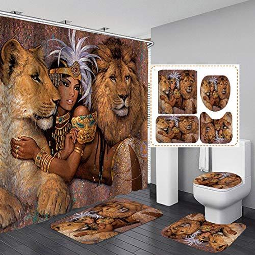 "Fashion_Man 16PCS/Set Lion African Woman Shower Curtain Polyester Cloth Fabric Bath Curtain Waterproof Bathtub Curtains, Bathroom Rugs Bath Mat Afro Girl Egyptian Lady Bathroom Decor, 72""x72"", Style 6"