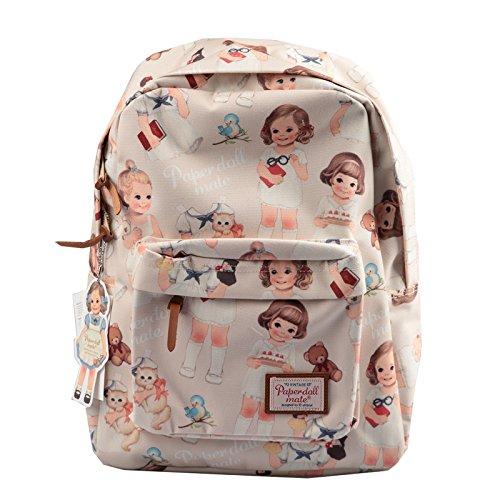 [韓国Afrocat] Korea Afrocat Afrocatペーパードールメイトの女性のバックパックバッグ (Afrocat Paper Doll Mate Women's Backpack Bag) (ベージュ ) [並行輸入品]