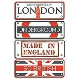 Toga AX005 Destination Londres Lot de 4 Plaques Métal Rouge/Gris 8 x 16 x 0,5 cm