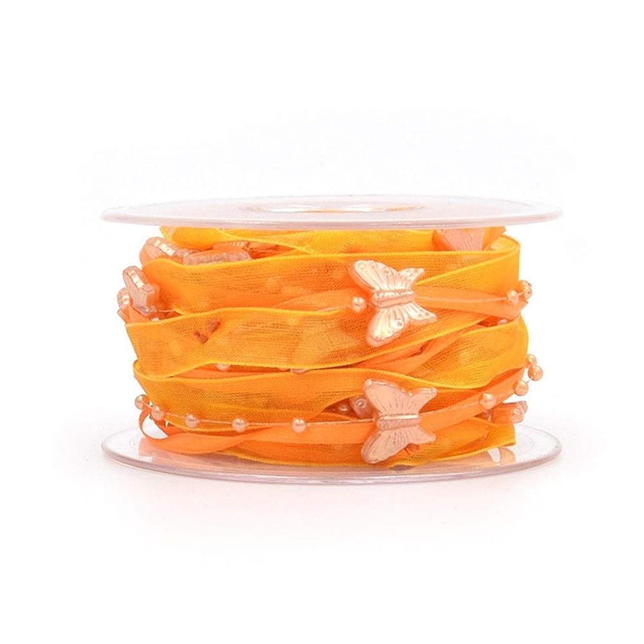 イヤホン有名な海里SHUOYUE リボン多色装飾リボンWthをバタフライビーズクリスマスパーティー結婚式の装飾DIYフラワーギフト包装 (Color : Orange)