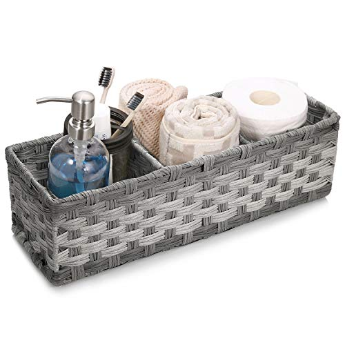 [Larger Compartments] Toilet Paper Basket for Tank Topper - Over, Top, Back of Toilet Tank Tray Split Hand-Woven Basket - Rustic, Farmhouse Bathroom Decor, Storage Bin, Counter Vanity Organizer, Gray