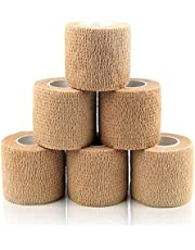 包帯 自己粘着包帯 5.0cm*4.5m 柔軟な包帯 通気性 弾性 圧縮 多機能 家庭用 自着性包帯セット 不織布凝集 アスレチックテープ 敏感肌に適しています (肌色 6巻セッ)