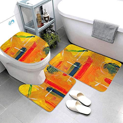 SDINAZ Alfombrillas de baño Set 3 Piezas Antideslizantes Lavables Alfombras de baño Moquetas Pintura Abstracta