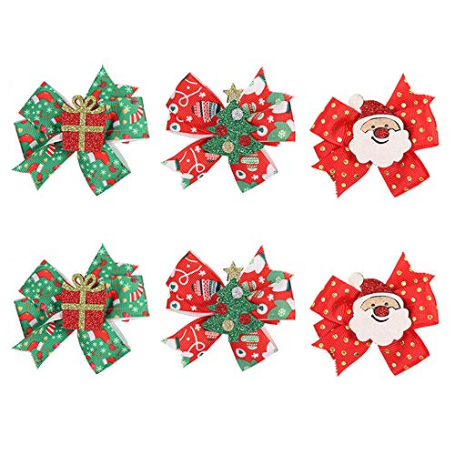6pcs Christmas Bows Hair Clips Grosgrain Ribbon Alligator Clips Santa Claus Christmas Tree Gift Box Barrettes Hair Accessories for Girls and Women