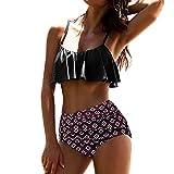 Dragon868_Bikinis Mujer Bikinis de talle alto femenino retro de dos piezas bikini conjunto Age para Mujer Pequeña Multicolor