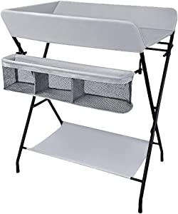 Foldable Infant Care Station Baby Diaper Storage for Small Space  Changing Table Gray