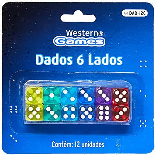 Dados 6 Lados Kit 12 Peças, Western, Multicor