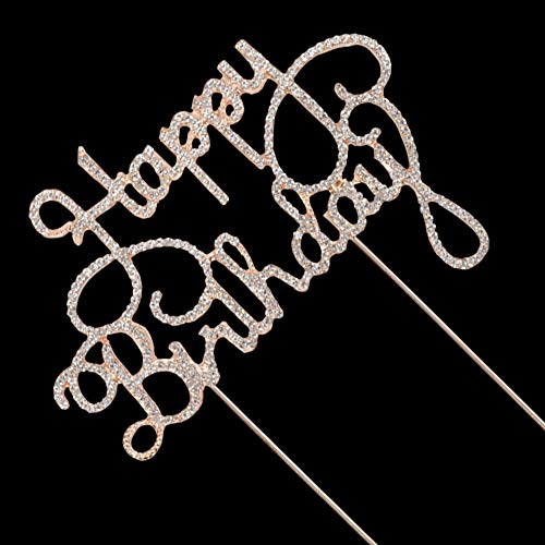 Happy Birthday Rhinestone Cake Topper, for 10th-20th-30th-40th-50th Birthday Party Decorations