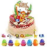 HQDeal 1Pcs Animal Cake Topper, 35Pcs Zoo Animal Cupcake Toppers, Jungle Safari Cake Topper, Jungle Animal Cake Toppers, Zoo Animal Cake Decorations for Kids Birthday Party