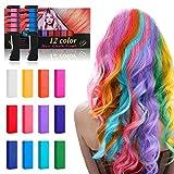 Tiza de pelo, kastiny 12 colores temporales de cabello, tinte para cabello no tóxico, lavables color, con brillo de tatuaje de tiza para niños diy fiesta