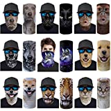 Renewold 9pcs 3D Print Animal Balaclava Breathable Anti-UV Windproof Face Bandana for Motorcycle Cycling Hiking Ski