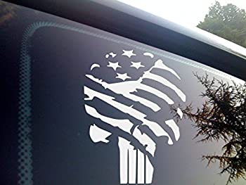 Punisher Flag Vinyl die Cut Decal for Automobile Windows Motorcycles Helmets laptops and Macbooks and More!…  5  x 6.75  White