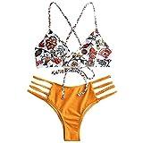 Conjunto de bikini Zaful para mujer compuesto por dos piezas con sujetador ajustable en la espalda y efecto realzador, escote triangular y estampado de flores naranja L