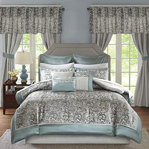"""Madison Park Essentials Brystol 24 Piece Room in a Bag Faux Silk Comforter Jacquard Paisley Design Matching Curtains Down Alternative Hypoallergenic All Season Bedding-Set, Queen(90""""x90""""), Teal"""
