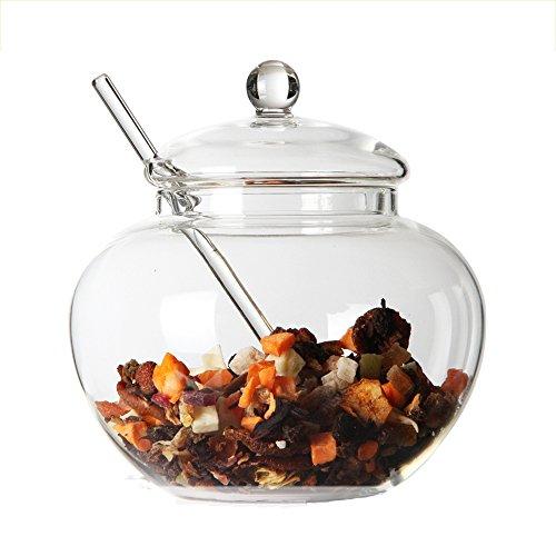TAMUME 350ML Handgemachtes Kristallklares Glas-Speicher-Teebehälter mit einem Minilöffel für die Speicherung des Tee- und Zuckerbehälter-Miniglas-Tee-Gefäß-Kanisters (Glas)