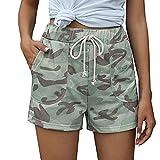 Pantalones Cortos con Estampado de Camuflaje Informal de Moda para Mujer Pantalones Cortos Rectos Transpirables de Cintura Alta Finos de Verano con Bolsillos Large