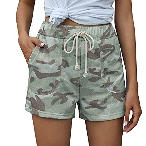 Pantalones Cortos con Estampado de Camuflaje Informal de Moda para Mujer Pantalones Cortos Rectos Transpirables de Cintura Alta Finos de Verano con Bolsillos Medium