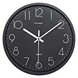 Plumeet Black Silent Wall Clocks - Non Ticking Quartz Round Clock Decorate Bedroom Home Kitchen Office - Battery Operated (Black Face)