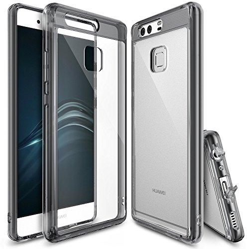 Ringke Fusion Compatible with Huawei P9 Crystal Clear PC Back TPU Bumper Drop Protection, Shock Absorption Technology Attached Dust Cap Protective Cover Huawei P9 Case - Smoke Black
