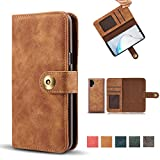 Samsung Galaxy Note 10 Plus Wallet Case, Vintage 2 in 1 [Magnetic Detachable] Flip Folio PU Leather Cases Removable Retro [4 Card Holder Slots] Cover - Brown