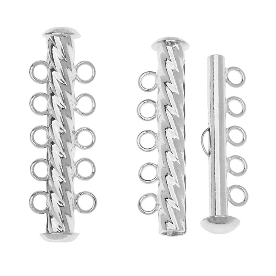 Slide Tube Clasps, 5-Strand Fluted Twist 32 x 4.5mm, 3 Sets, Silver Plated