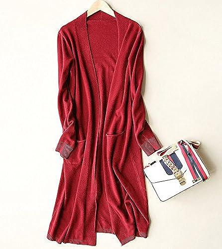 SCOATWWH Veste à Manches Longues voituredigan Tricot Confortable Et élégant Décontracté Relaxe Tricots - Veste pour Femmes Manteaux Femmes,Taille Uniforme, Rouge