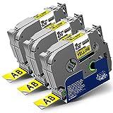 3x Labelwell 18mm x 8m Sostituzione Nastro Compatibile per Brother Tz TZe-641 TZe641 TZ641 Nero su Giallo per Brother PT-D450VP PT-D400 PT-E300VP PT-E500VP PT-P900W PT-P950NW PT-P750W RL-700S