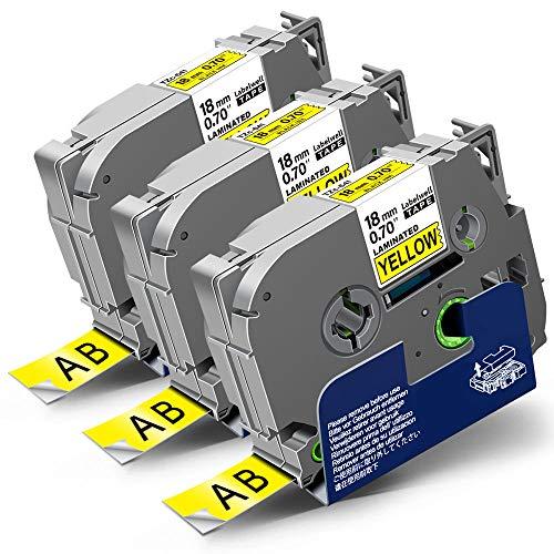 3x Labelwell 18mm x 8m Kompatibel Schriftband Ersatz für Brother Tz TZe-641 TZe641 Schwarz auf Gelb für Brother Ptouch PT-D450VP PT-E300VP PT-E500VP PT-P900W PTH500LI PTE300 PT-2030 PT-H300 PT-18RZ