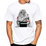 Tefamore Hommes Impression T-Shirts Chemise à Manches Courtes été Blouse (XL, Y-Noir)