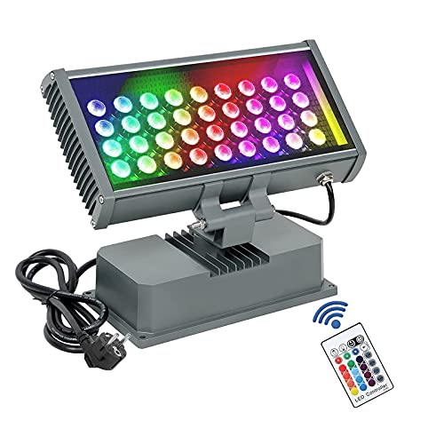 108W LED-Wandfluter Licht, ATCD Wandreinigungslicht mit RF Fernbedienung,RGBW Bühnenlampe(4 Modi, 8 Helligkeit,16 Farben) für KTV Bar Hochzeitsschulshow Weihnachtsclub-Halloween-Party