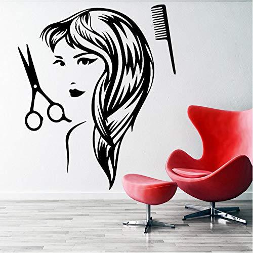Wall Sticker for Living Room Bedroom Decor Art Home Decoration Barber Shop Decal Haircut Woman Vinyl Hair Salon Removable Mural Art For Barber Accessorises Wallpaper 58x81cm