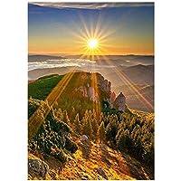 QMGLBG 5Dダイヤモンド塗装太陽の下で山の頂上ダイヤモンド塗装大人のクリスタルラインストーンクラフト家族の壁の装飾パズルゲーム40*50cm