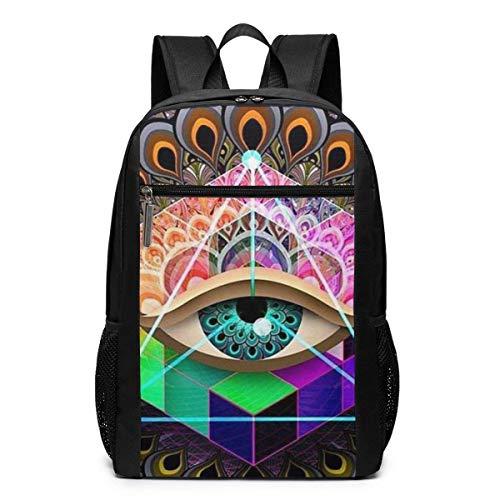 TRFashion Sac à Dos Tattoo Trippy Acid Eye Laptop Backpack 17 inches Travel Gym Bag Yoga Bag School Bag Book Bag for Men Women Teenagers
