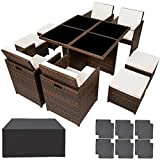 TecTake Salon de Jardin en Résine Tressée et Aluminium, Ensemble Table Set 4+4+1 + Housse de Protection (Noir Marron)